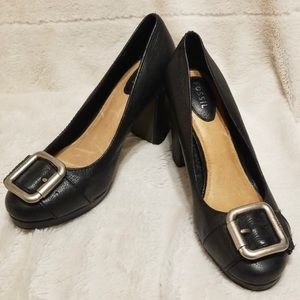 Fossil Maddox Buckle Block Heels 8 Black